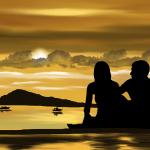 海を見ているカップル