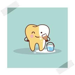 黄ばんだ歯を白くしているイラスト