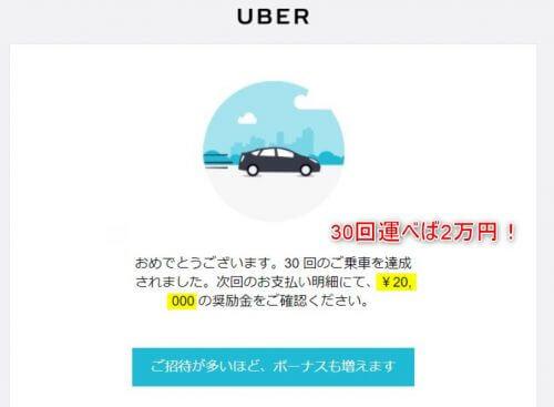 uberで30回の配達報酬